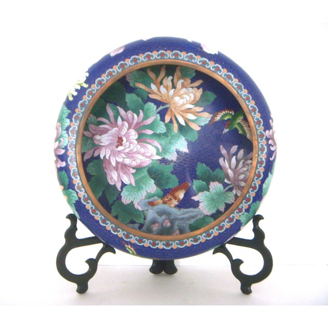Large Blue Cloisonné 'Flower Bowl' and Stand - Image 2 of 11
