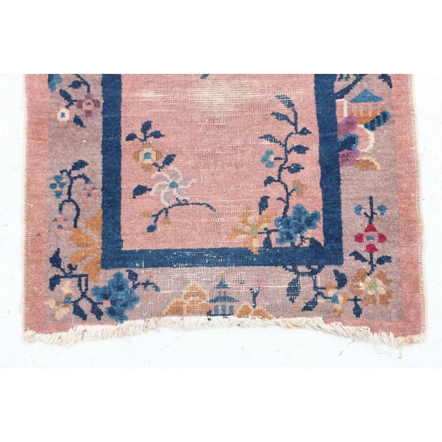 Beautiful early-mid 20th century wool Chinese floral area rug.