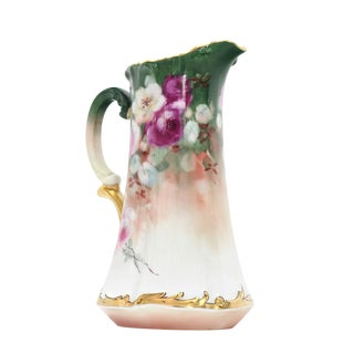 T&V France Floral Vase Shape Flower Painted Porcelain Pitcher For Sale