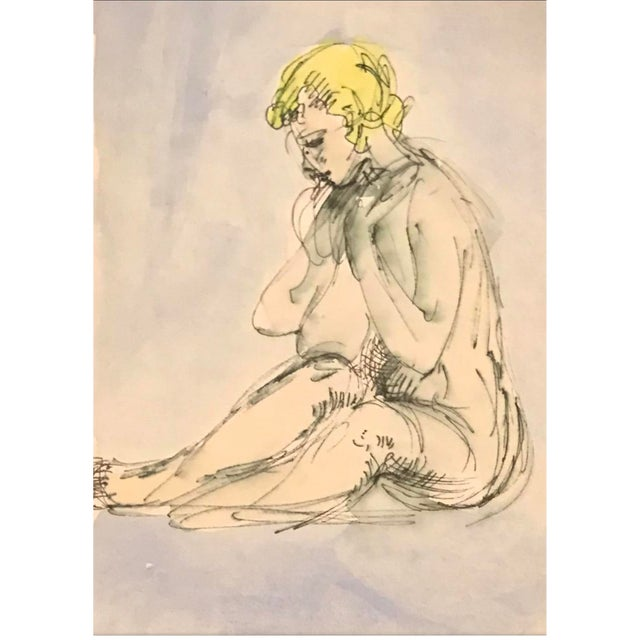 Seated Female Nude Watercolor 1970s For Sale