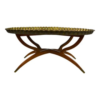 1960s Anglo-Indian Oval Brass Tray Top Table For Sale