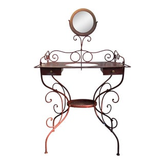 French Victorian Metal Washstand With Mirror For Sale
