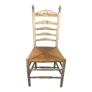Painted Antique Ladder Back Chair For Sale