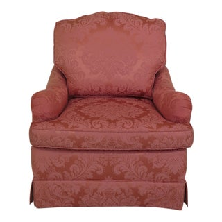 Baker Damask Upholstered Down Cushion Chair For Sale