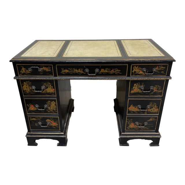 Chinoiserie Leather Too Writing Desk For Sale