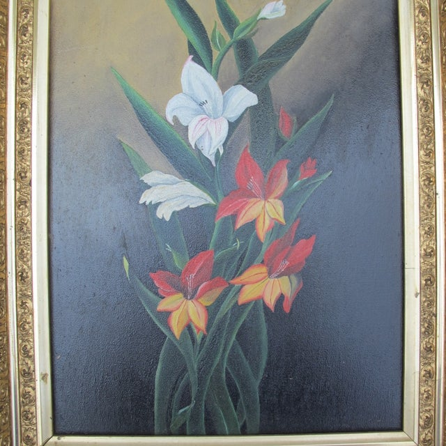 Framed Lilies Oil Painting - Image 3 of 9