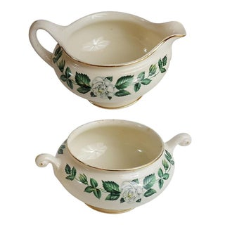 Gardenia Gold Trim Sugar and Creamer - A Pair For Sale