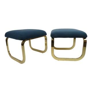 1960's Vintage Milo Baughman Brass Footstool Ottomans - a Pair For Sale