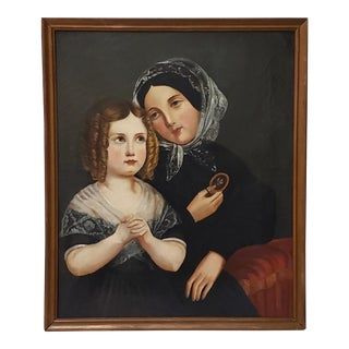 Antique American Oil Portrait of a Young Mother & Daughter 19th C. For Sale