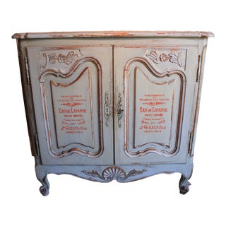 Painted French Country 2 Door Cabinet For Sale