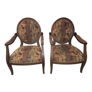 Modern Louis XVI Style Oval Back Fauteuil Armchairs- A Pair For Sale