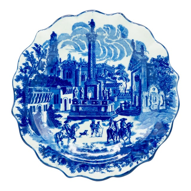 Late 19th Century Ironstone Blue and White Town Scene Plate For Sale
