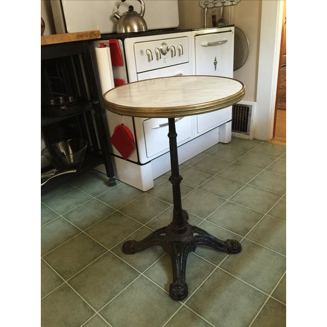 French Antique Cast Iron Bistro Cafe Table - Image 2 of 6