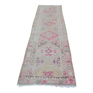 1960s Art Nouveau Handmade Beige and Pink Wool Hallway Runner Rug
