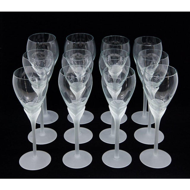 "Transparent Vintage Mikasa ""Alexandra"" Crystal Tulip Champagne Glasses - Set of 12 For Sale - Image 8 of 8"