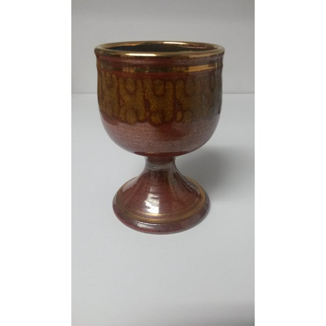 Mid-Century Artisan Pottery Rust and Gold Wine Goblets Signed Parker - Set of 6 For Sale - Image 12 of 13