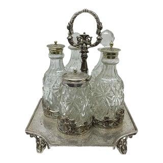 1890s British Victorian J. Round & Sons Silver Plated Cruet For Sale