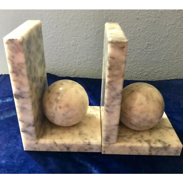 Vintage Himark Italian Marble Geometric Ball Classic Bookends - Pair For Sale - Image 4 of 8