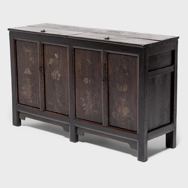 Asian Chinese Four Seasons Painted Coffer For Sale - Image 3 of 13