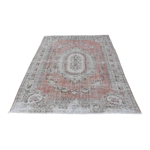 Nomadic Antique Handmade Muted Anatolian Faded Salmon Carpet - 6′9″ × 9′2″ - Image 1 of 10