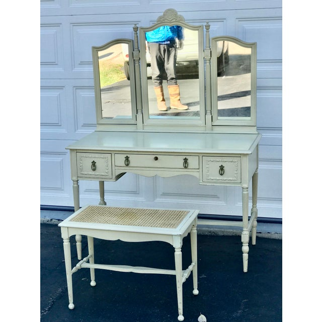 1930's Adams Style Vanity W/Mirror Cane Bench For Sale - Image 11 of 11