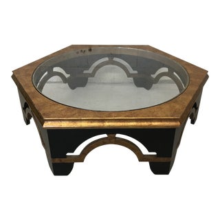 Black Lacquer and Gold Leaf Coffee Table For Sale
