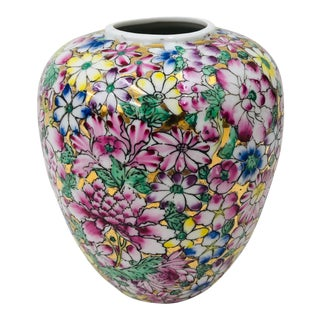 Vintage Rose Famille Style Porcelain Vase For Sale