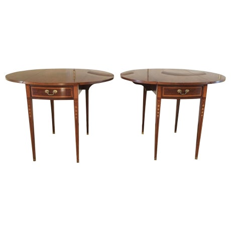 19th Century English Style Pembroke Tables - A Pair - Image 1 of 8
