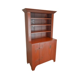 d.r. Dimes Williamsburg Country Red Painted Step Back Cupboard For Sale
