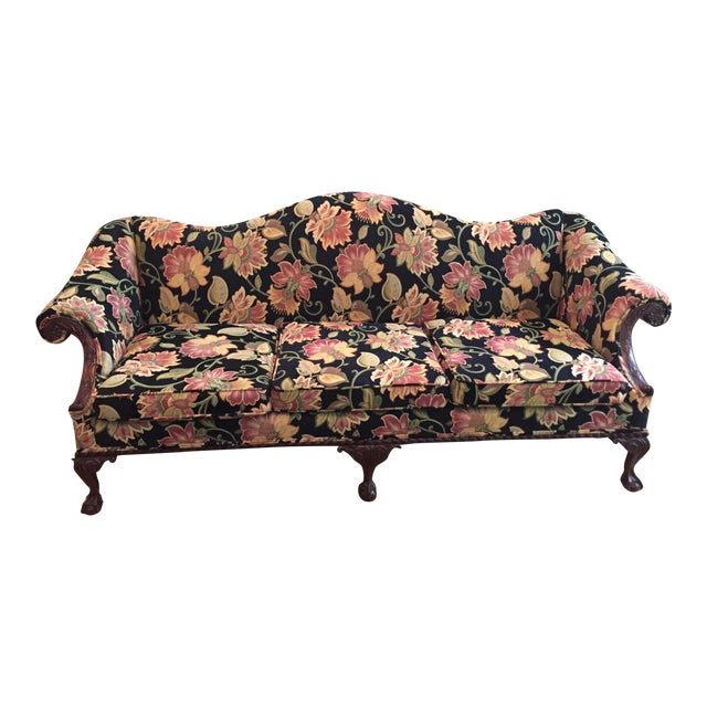 Gorgeous Chippendale-Style Black and Rose Tapestry Camel-Back Couch - Image 1 of 7