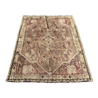Antique Persian Shiraz Thin Area Rug - 4′4″ × 5′10″ For Sale
