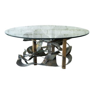 1970s Brutalist Sculptural Brass Coffee Table For Sale
