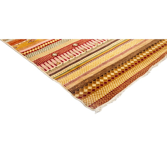 """Striped Hand Knotted Area Rug - 5'1"""" X 7'6"""" - Image 2 of 3"""