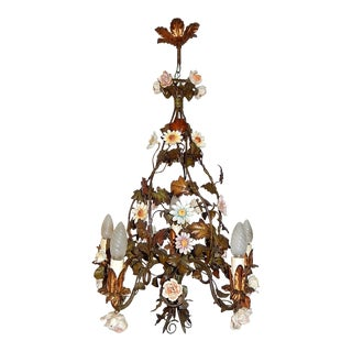 1890 Italian Tole Porcelain Flowers Chandelier For Sale
