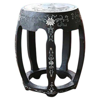 Antique Hand Carved Chinoiserie Garden Stool