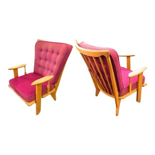 Guillerme Et Chambron Pair of Rare Chairs in Good Vintage Condition For Sale
