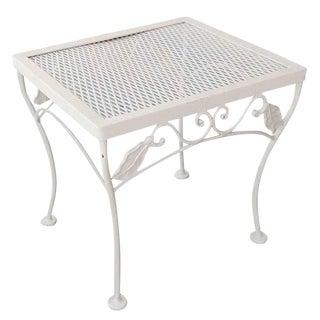 Woodard Mesh Steel Outdoor Patio Side Table For Sale