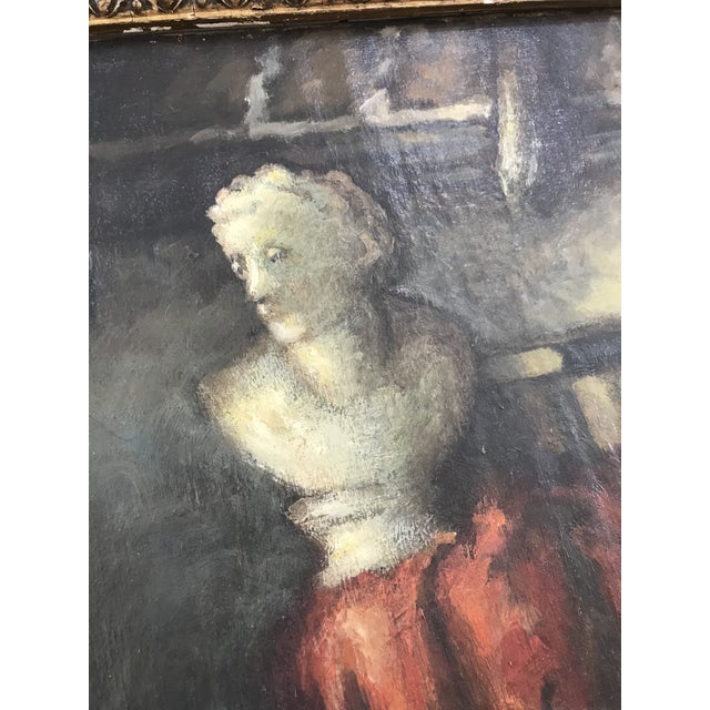 1950s 1950s Vintage Still Life with Marble Bust Framed Oil Painting For Sale - Image 5 of 10