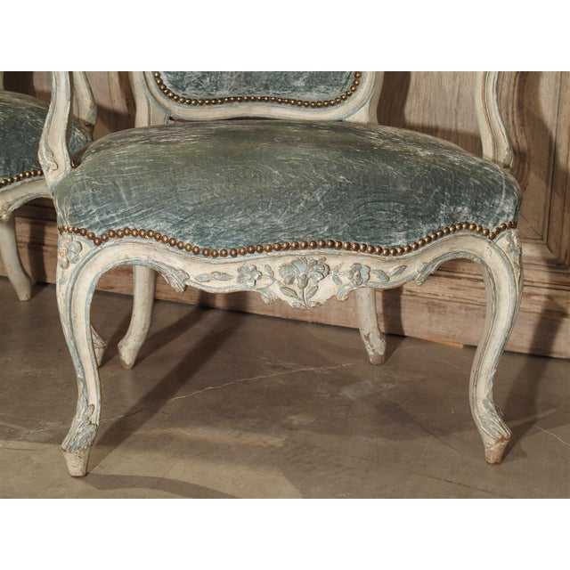 Pair of Period French Louis XV Blue and Cream Lacquered Cabriolet Armchairs For Sale - Image 9 of 13