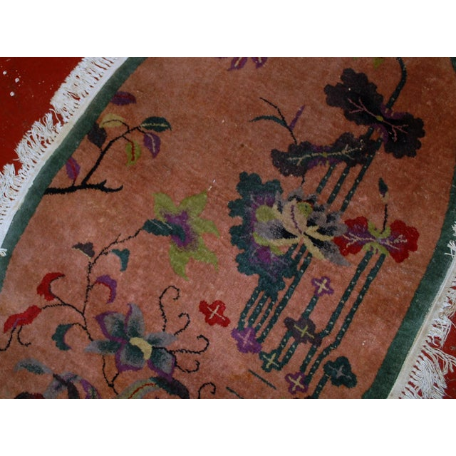 1920s Handmade Antique Oval Art Deco Chinese Rug - 3' X 4.10' - Image 7 of 7