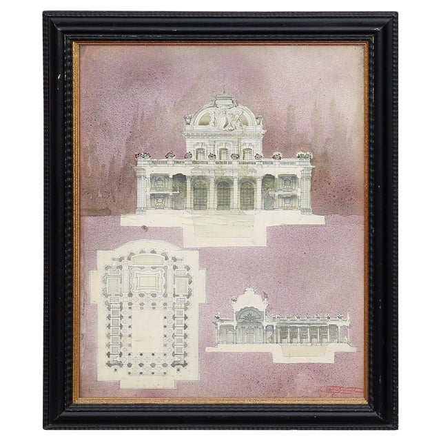 Watercolor Architectural Rendering For Sale