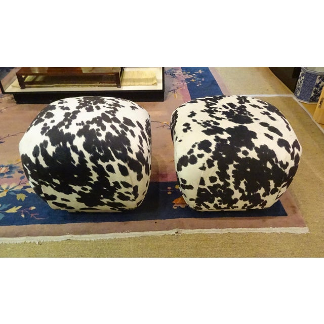 """PAIR of Karl Springer-style ottomans, from the 70's or 80's which have been charmingly upholstered in a faux """"pony"""" velvet..."""