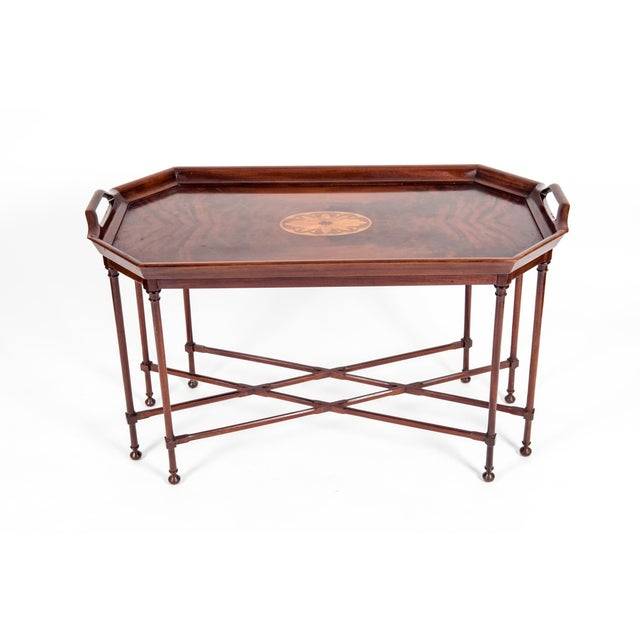 Chippendale Fine Mahogany Wood Tray Table with Side Handles For Sale - Image 3 of 12