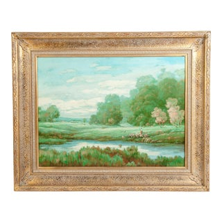 "Large ""Green Meadow"" Giltwood Framed Oil / Canvas Painting For Sale"
