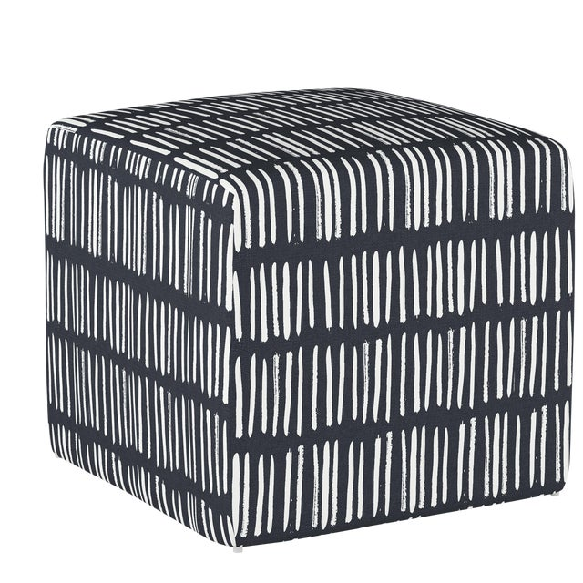 Dash Navy Cube Ottoman For Sale In Chicago - Image 6 of 7