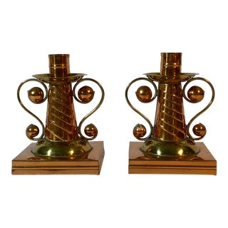 Hand Tooled Copper & Brass Candle Holders Llamas Workshop Mexico - a Pair For Sale