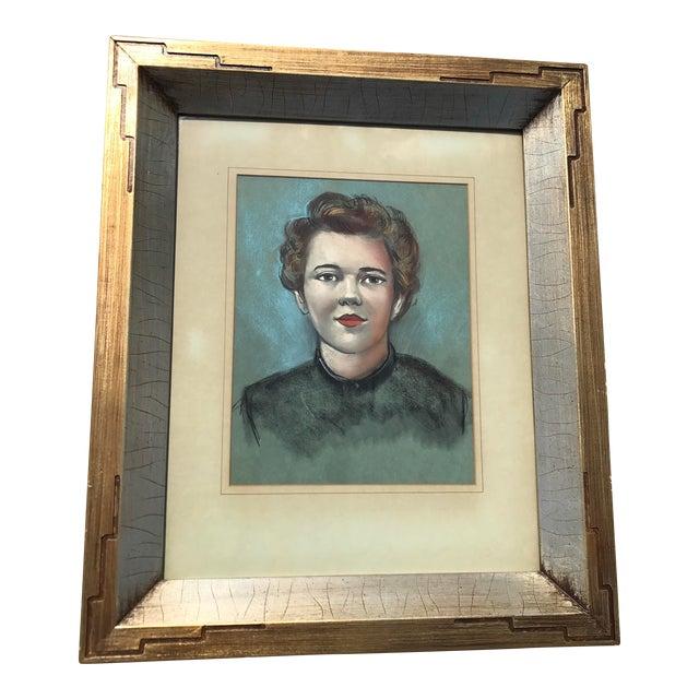 Vintage Female Portrait Chalk Drawing - Image 1 of 7