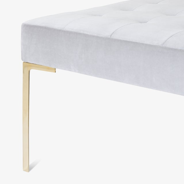 Astor Large Brass Tufted Ottoman in Sharkskin Velvet by Montage For Sale In New York - Image 6 of 8