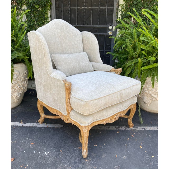 Antique Early 19c Carved Louis XV Style Wingback Arm Chair For Sale In Los Angeles - Image 6 of 6
