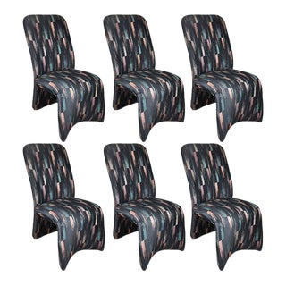 Modernist Post Modern Sculptural Ribbon Ikat Dining Chairs - Set of 6 For Sale